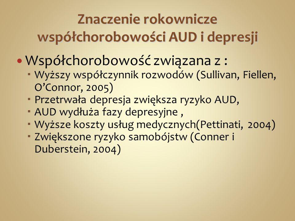 Znaczenie rokownicze współchorobowości AUD i depresji Współchorobowość związana z :  Wyższy współczynnik rozwodów (Sullivan, Fiellen, O'Connor, 2005)  Przetrwała depresja zwiększa ryzyko AUD,  AUD wydłuża fazy depresyjne,  Wyższe koszty usług medycznych(Pettinati, 2004)  Zwiększone ryzyko samobójstw (Conner i Duberstein, 2004)