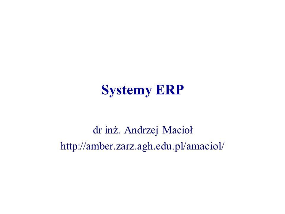 Systemy ERP dr inż. Andrzej Macioł http://amber.zarz.agh.edu.pl/amaciol/