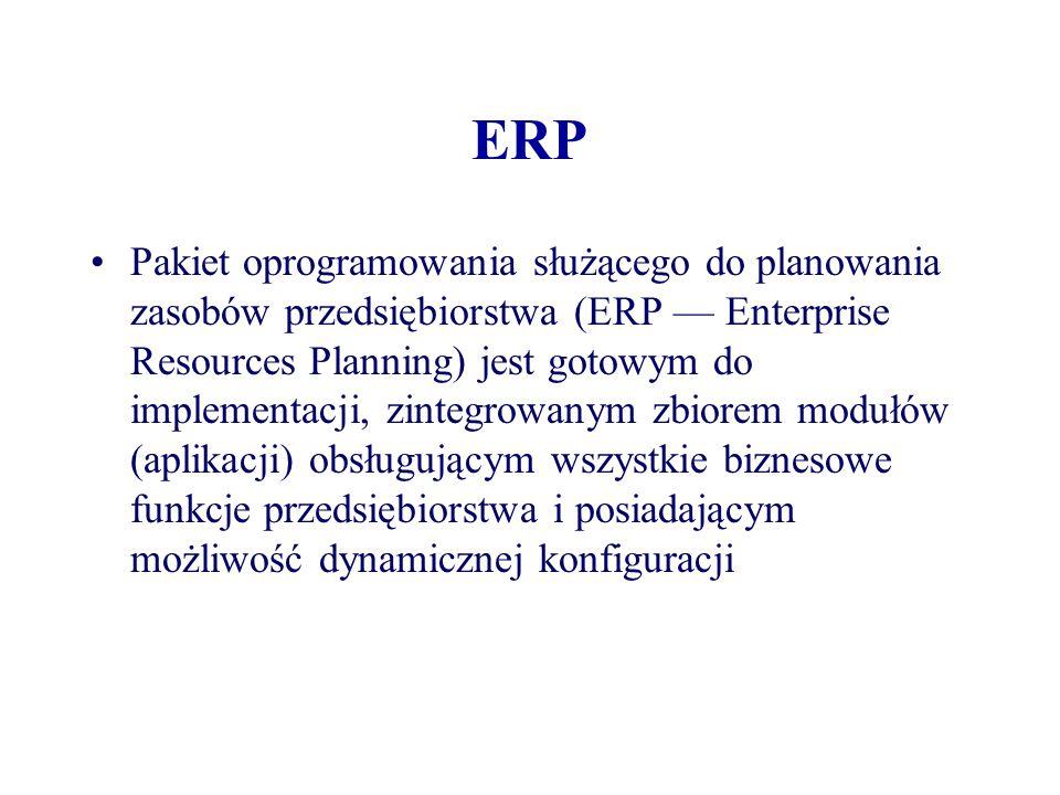 ERP Pakiet oprogramowania służącego do planowania zasobów przedsiębiorstwa (ERP — Enterprise Resources Planning) jest gotowym do implementacji, zinteg