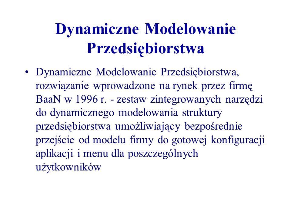 Dynamiczne Modelowanie Przedsiębiorstwa Dynamiczne Modelowanie Przedsiębiorstwa, rozwiązanie wprowadzone na rynek przez firmę BaaN w 1996 r. - zestaw