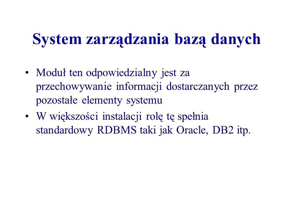 System zarządzania bazą danych Moduł ten odpowiedzialny jest za przechowywanie informacji dostarczanych przez pozostałe elementy systemu W większości