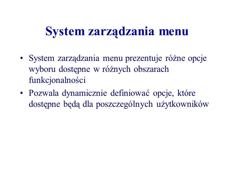 System zarządzania menu System zarządzania menu prezentuje różne opcje wyboru dostępne w różnych obszarach funkcjonalności Pozwala dynamicznie definio