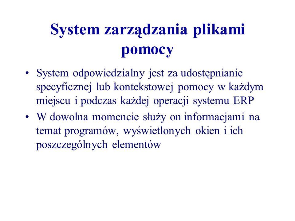 System zarządzania plikami pomocy System odpowiedzialny jest za udostępnianie specyficznej lub kontekstowej pomocy w każdym miejscu i podczas każdej o
