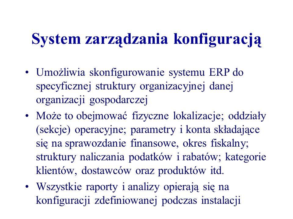 System zarządzania konfiguracją Umożliwia skonfigurowanie systemu ERP do specyficznej struktury organizacyjnej danej organizacji gospodarczej Może to