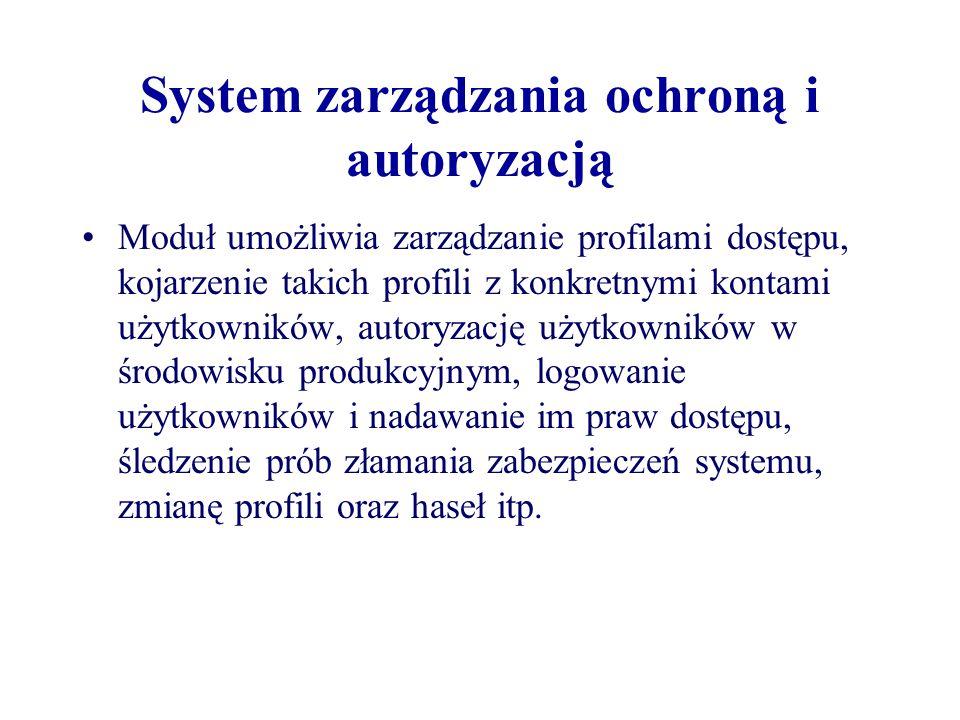 System zarządzania ochroną i autoryzacją Moduł umożliwia zarządzanie profilami dostępu, kojarzenie takich profili z konkretnymi kontami użytkowników,
