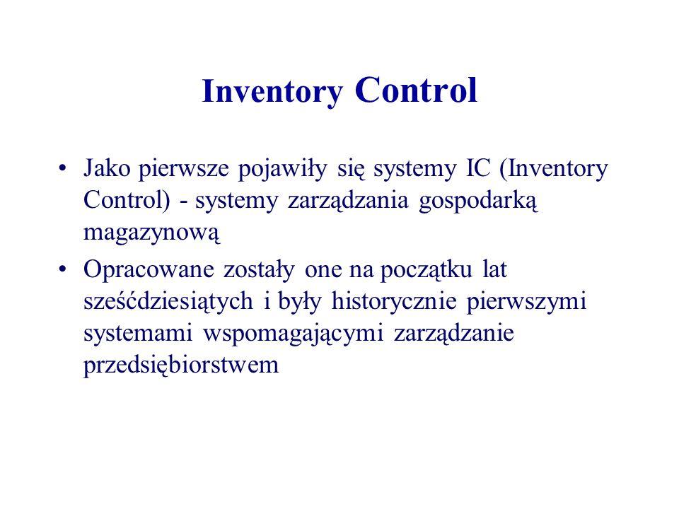 Inventory Control Jako pierwsze pojawiły się systemy IC (Inventory Control) - systemy zarządzania gospodarką magazynową Opracowane zostały one na pocz