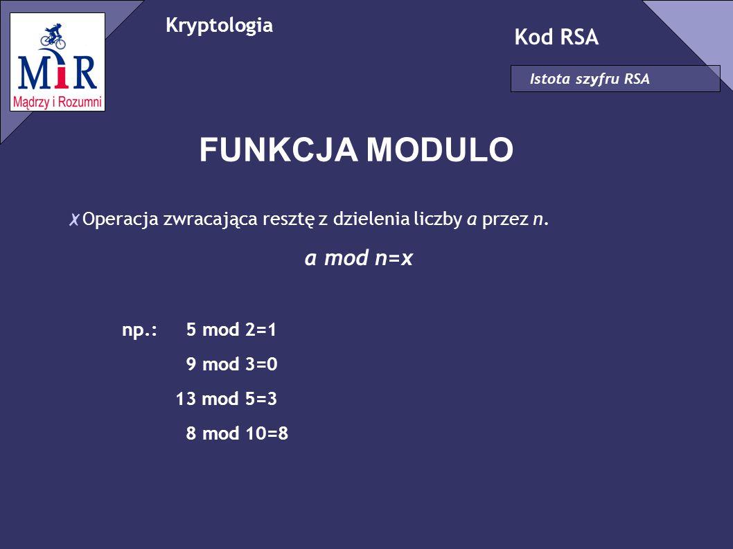 Kryptologia Kod RSA Istota szyfru RSA FUNKCJA EULERA ✗ Funkcja Eulera φ wyznacza ilość liczb wzgęldnie pierwszych z daną liczbą, mniejszych od niej.