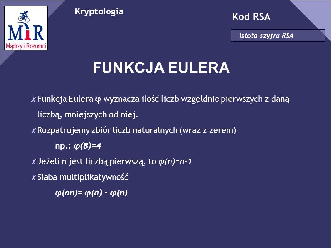 Kryptologia Kod RSA Istota szyfru RSA FUNKCJA EULERA ✗ Funkcja Eulera φ wyznacza ilość liczb wzgęldnie pierwszych z daną liczbą, mniejszych od niej. ✗