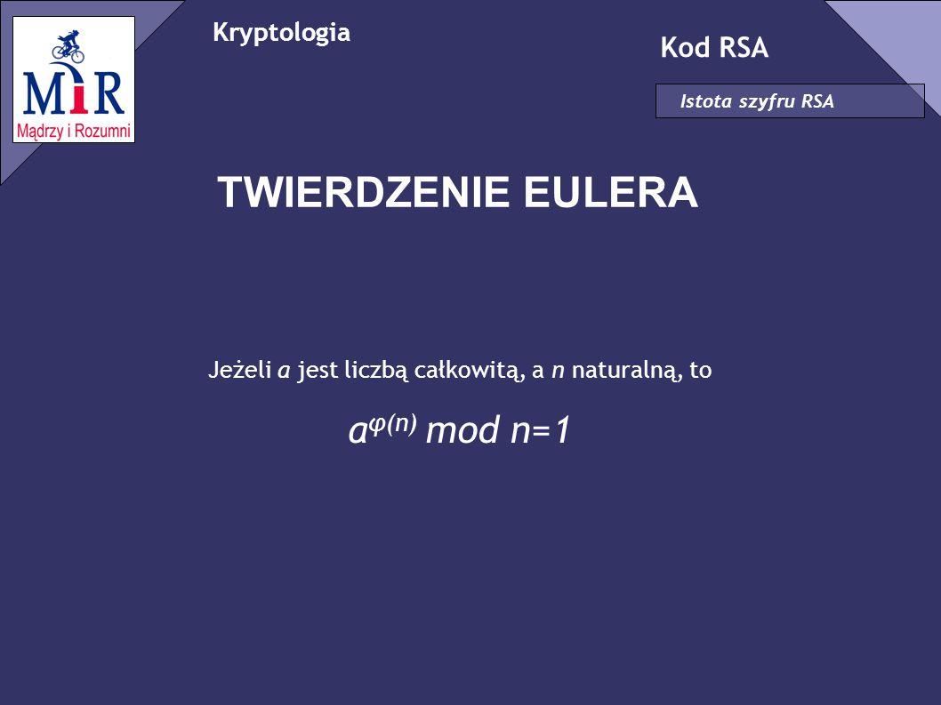 Kryptologia Kod RSA Istota szyfru RSA TWIERDZENIE EULERA Jeżeli a jest liczbą całkowitą, a n naturalną, to a φ(n) mod n=1