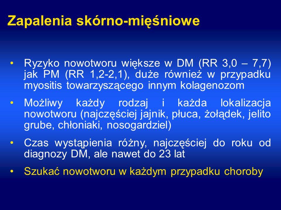 Zapalenia skórno-mięśniowe Ryzyko nowotworu większe w DM (RR 3,0 – 7,7) jak PM (RR 1,2-2,1), duże również w przypadku myositis towarzyszącego innym kolagenozom Możliwy każdy rodzaj i każda lokalizacja nowotworu (najczęściej jajnik, płuca, żołądek, jelito grube, chłoniaki, nosogardziel) Czas wystąpienia różny, najczęściej do roku od diagnozy DM, ale nawet do 23 lat Szukać nowotworu w każdym przypadku choroby