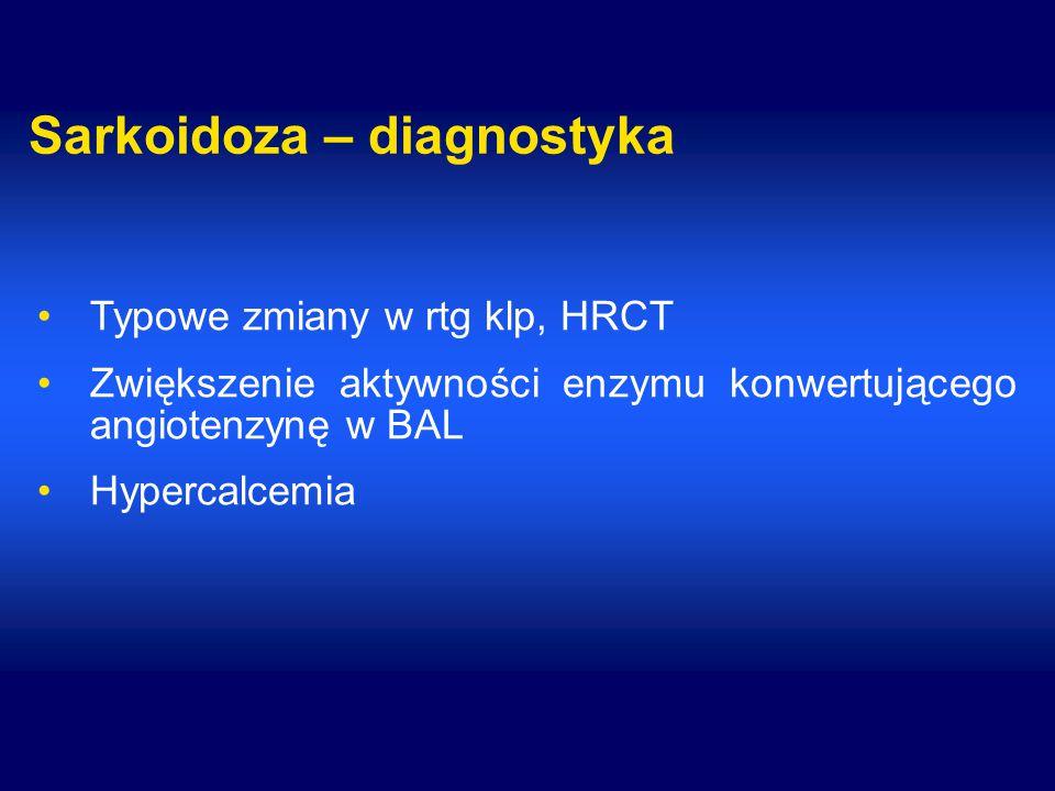 Sarkoidoza – diagnostyka Typowe zmiany w rtg klp, HRCT Zwiększenie aktywności enzymu konwertującego angiotenzynę w BAL Hypercalcemia