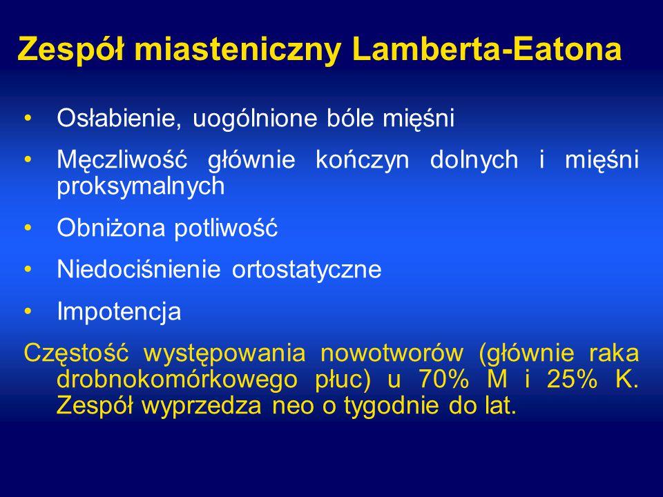 Zespół miasteniczny Lamberta-Eatona Osłabienie, uogólnione bóle mięśni Męczliwość głównie kończyn dolnych i mięśni proksymalnych Obniżona potliwość Niedociśnienie ortostatyczne Impotencja Częstość występowania nowotworów (głównie raka drobnokomórkowego płuc) u 70% M i 25% K.