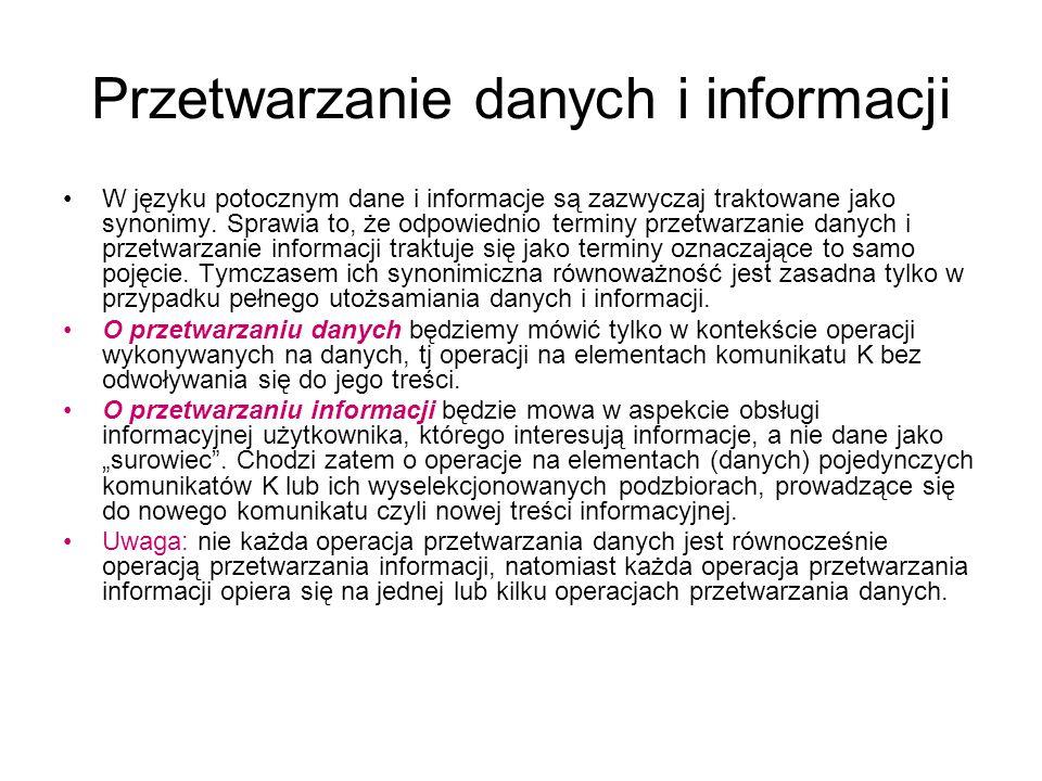 Przetwarzanie danych i informacji W języku potocznym dane i informacje są zazwyczaj traktowane jako synonimy. Sprawia to, że odpowiednio terminy przet