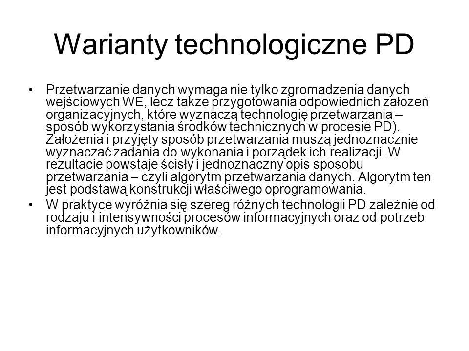 Warianty technologiczne PD Przetwarzanie danych wymaga nie tylko zgromadzenia danych wejściowych WE, lecz także przygotowania odpowiednich założeń organizacyjnych, które wyznaczą technologię przetwarzania – sposób wykorzystania środków technicznych w procesie PD).