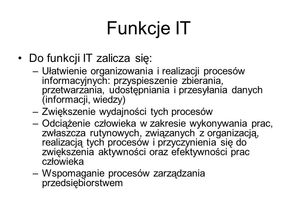 Funkcje IT Do funkcji IT zalicza się: –Ułatwienie organizowania i realizacji procesów informacyjnych: przyspieszenie zbierania, przetwarzania, udostęp
