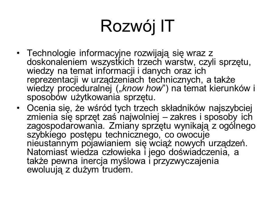 """Rozwój IT Technologie informacyjne rozwijają się wraz z doskonaleniem wszystkich trzech warstw, czyli sprzętu, wiedzy na temat informacji i danych oraz ich reprezentacji w urządzeniach technicznych, a także wiedzy proceduralnej (""""know how ) na temat kierunków i sposobów użytkowania sprzętu."""