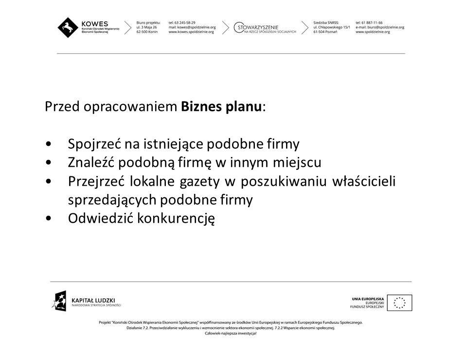 Przed opracowaniem Biznes planu: Spojrzeć na istniejące podobne firmy Znaleźć podobną firmę w innym miejscu Przejrzeć lokalne gazety w poszukiwaniu wł