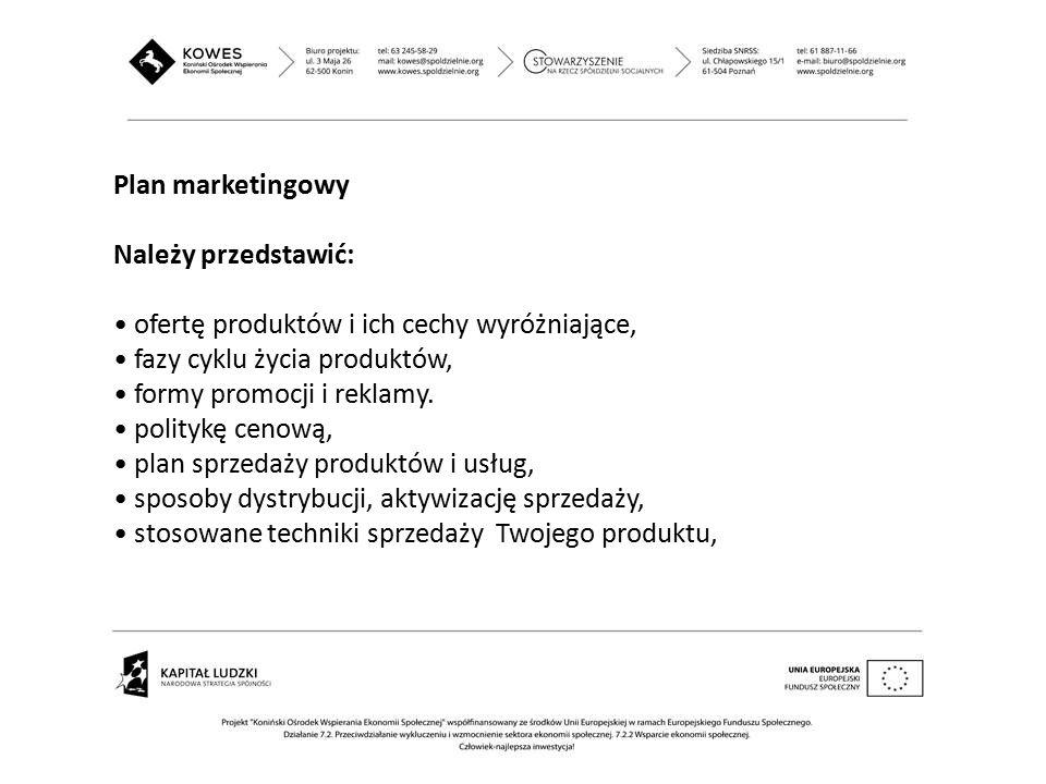 Plan marketingowy Należy przedstawić: ofertę produktów i ich cechy wyróżniające, fazy cyklu życia produktów, formy promocji i reklamy. politykę cenową
