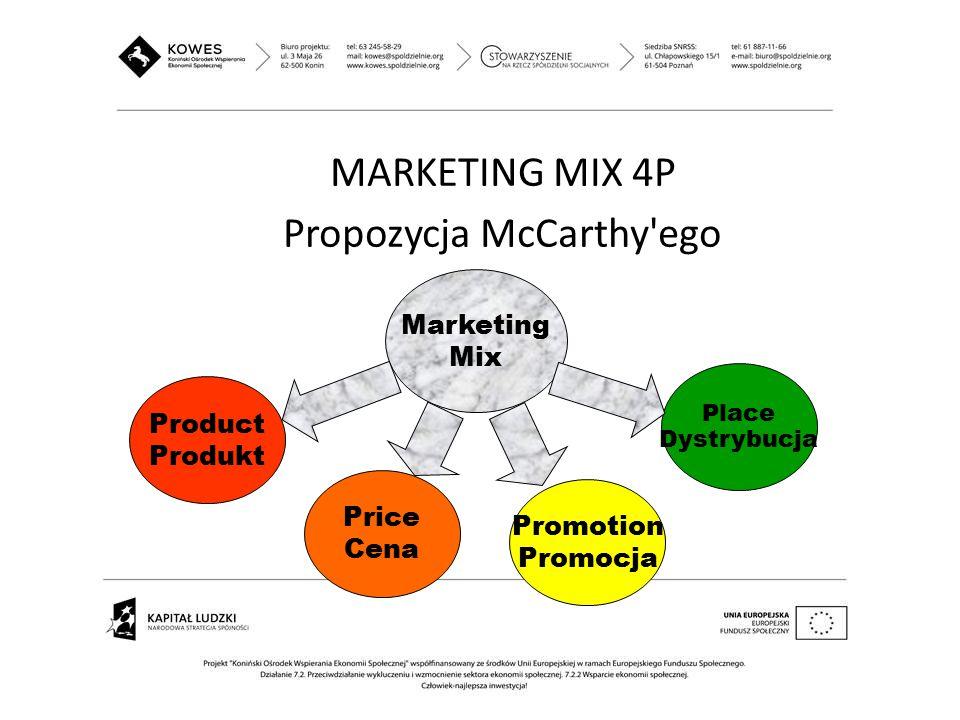 MARKETING MIX 4P Propozycja McCarthy'ego Marketing Mix Product Produkt Price Cena Promotion Promocja Place Dystrybucja