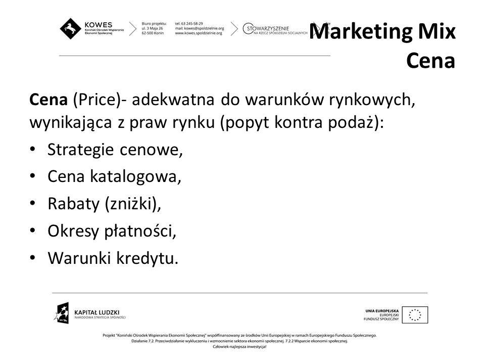 Cena (Price)- adekwatna do warunków rynkowych, wynikająca z praw rynku (popyt kontra podaż): Strategie cenowe, Cena katalogowa, Rabaty (zniżki), Okres
