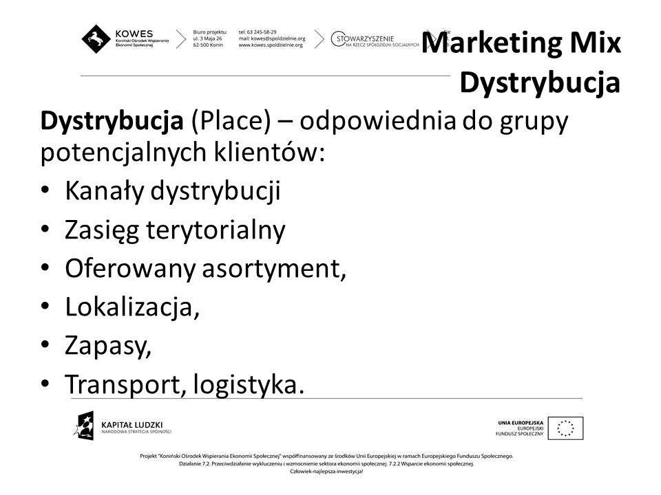 Dystrybucja (Place) – odpowiednia do grupy potencjalnych klientów: Kanały dystrybucji Zasięg terytorialny Oferowany asortyment, Lokalizacja, Zapasy, T