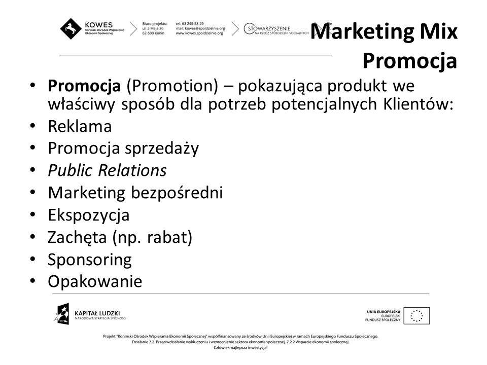 Promocja (Promotion) – pokazująca produkt we właściwy sposób dla potrzeb potencjalnych Klientów: Reklama Promocja sprzedaży Public Relations Marketing