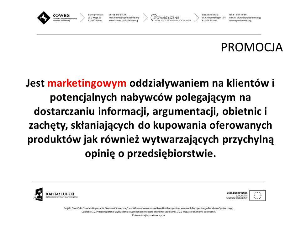 Jest marketingowym oddziaływaniem na klientów i potencjalnych nabywców polegającym na dostarczaniu informacji, argumentacji, obietnic i zachęty, skłan