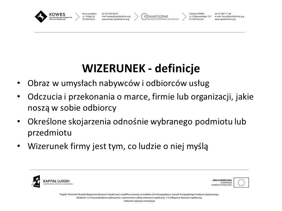 WIZERUNEK - definicje Obraz w umysłach nabywców i odbiorców usług Odczucia i przekonania o marce, firmie lub organizacji, jakie noszą w sobie odbiorcy