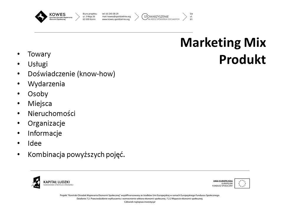 Towary Usługi Doświadczenie (know-how) Wydarzenia Osoby Miejsca Nieruchomości Organizacje Informacje Idee Kombinacja powyższych pojęć. Marketing Mix P