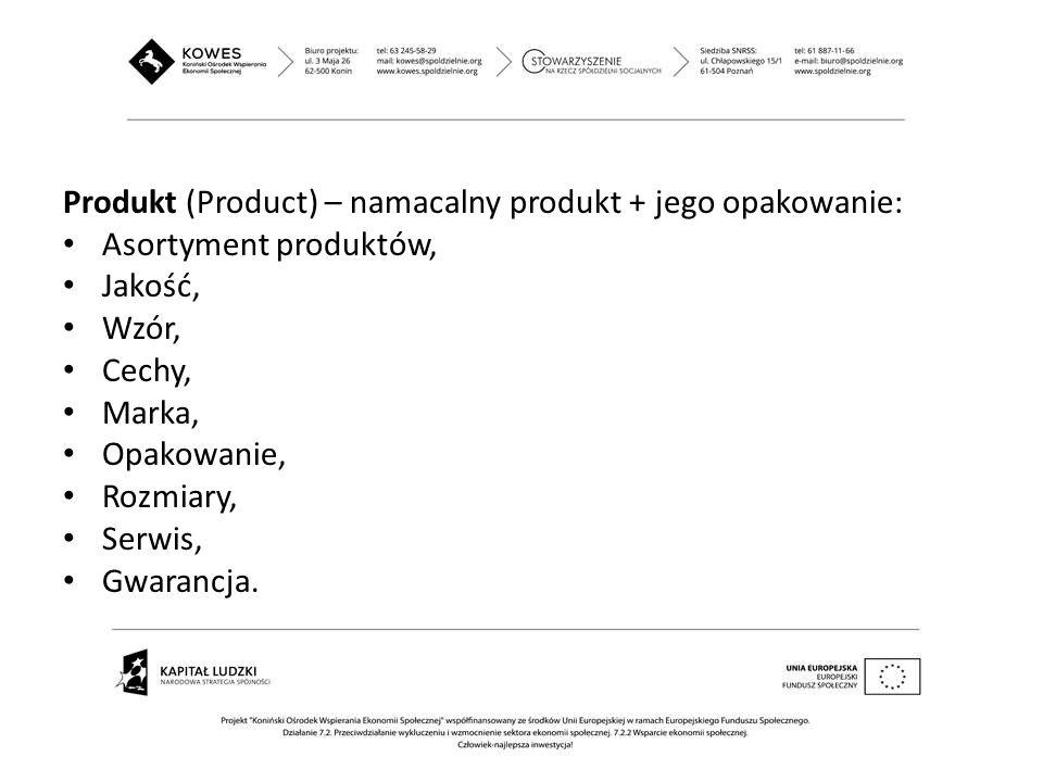 Produkt (Product) – namacalny produkt + jego opakowanie: Asortyment produktów, Jakość, Wzór, Cechy, Marka, Opakowanie, Rozmiary, Serwis, Gwarancja.
