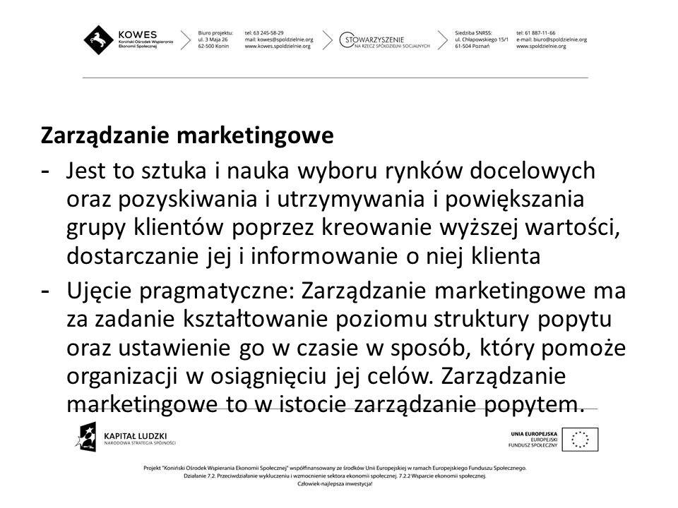 Zarządzanie marketingowe - Jest to sztuka i nauka wyboru rynków docelowych oraz pozyskiwania i utrzymywania i powiększania grupy klientów poprzez kreo
