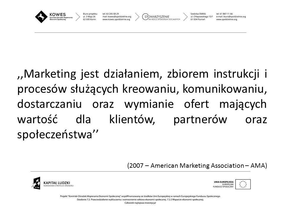 ,,Marketing jest działaniem, zbiorem instrukcji i procesów służących kreowaniu, komunikowaniu, dostarczaniu oraz wymianie ofert mających wartość dla k