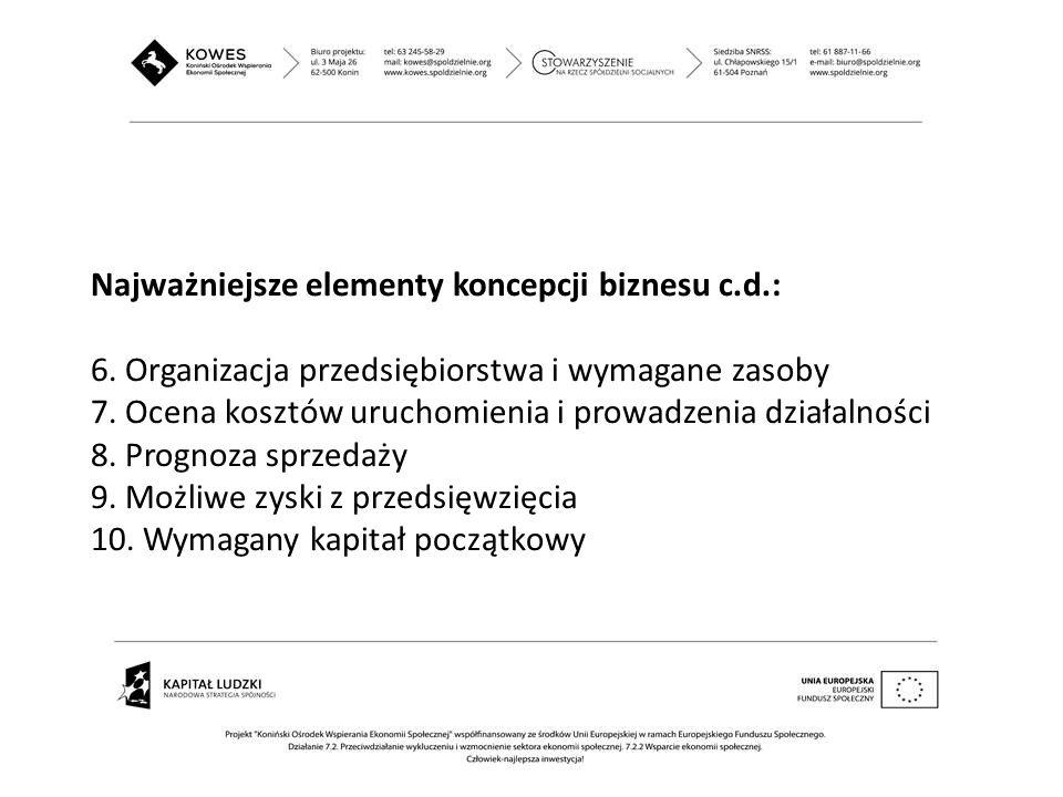 Najważniejsze elementy koncepcji biznesu c.d.: 6. Organizacja przedsiębiorstwa i wymagane zasoby 7. Ocena kosztów uruchomienia i prowadzenia działalno