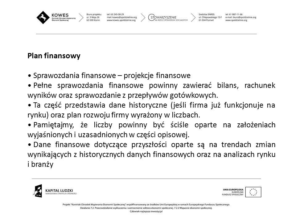 Plan finansowy Sprawozdania finansowe – projekcje finansowe Pełne sprawozdania finansowe powinny zawierać bilans, rachunek wyników oraz sprawozdanie z