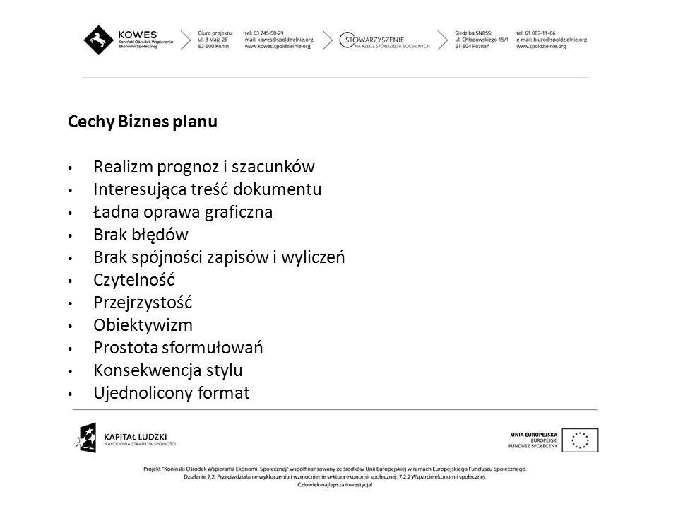 Cechy Biznes planu Realizm prognoz i szacunków Interesująca treść dokumentu Ładna oprawa graficzna Brak błędów Brak spójności zapisów i wyliczeń Czyte