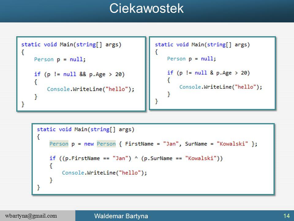 wbartyna@gmail.com Waldemar Bartyna Ciekawostek 14