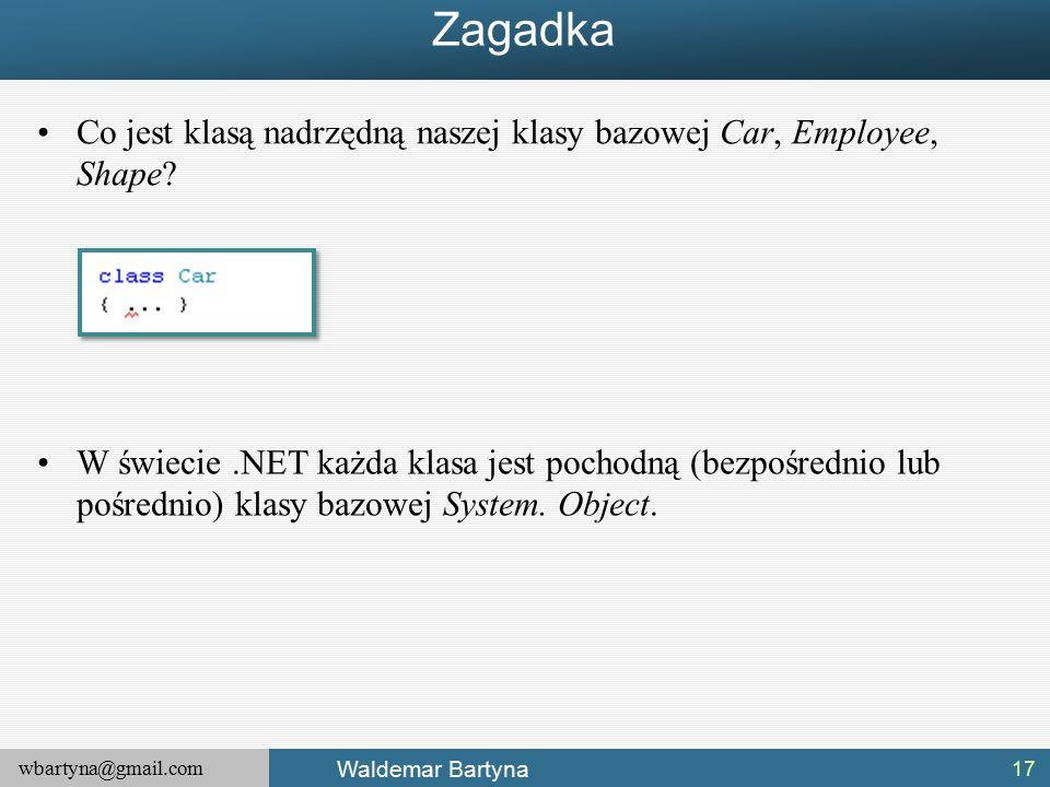 wbartyna@gmail.com Waldemar Bartyna Zagadka Co jest klasą nadrzędną naszej klasy bazowej Car, Employee, Shape.