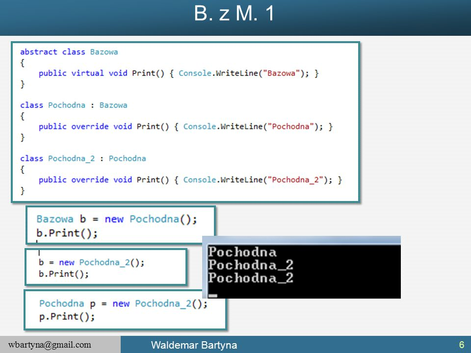 wbartyna@gmail.com Waldemar Bartyna Konfigurowanie stanu wyjątka Obecnie, nasz obiekt klasy System.Exception wyrzucany przez metodę Accelerate() przekazuje nam tylko informacje poprzez właściwość Message (przekazywaną jako parametr konstruktora).