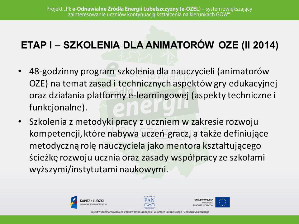 ETAP II – REKRUTACJA UCZNIÓW-GRACZY (II 2014) Wybór 5 uczniów szczególnie zainteresowanych tematyką OZE, osiągających wysokie wyniki nauczania w zakresie przedmiotów przyrodniczych.