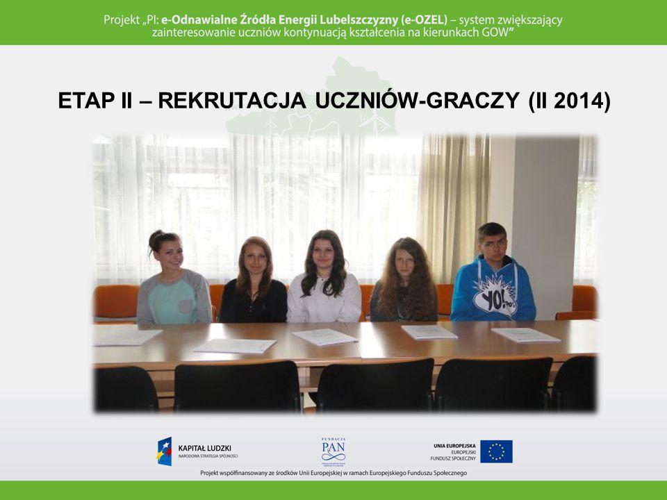 ETAP III – PRZYGOTOWANIA DO TESTOWANIA (II 2014) Przygotowanie sali do testowania produktów finalnych (wykorzystanie zestawu multimedialnego przygotowanego przez realizatora projektu).