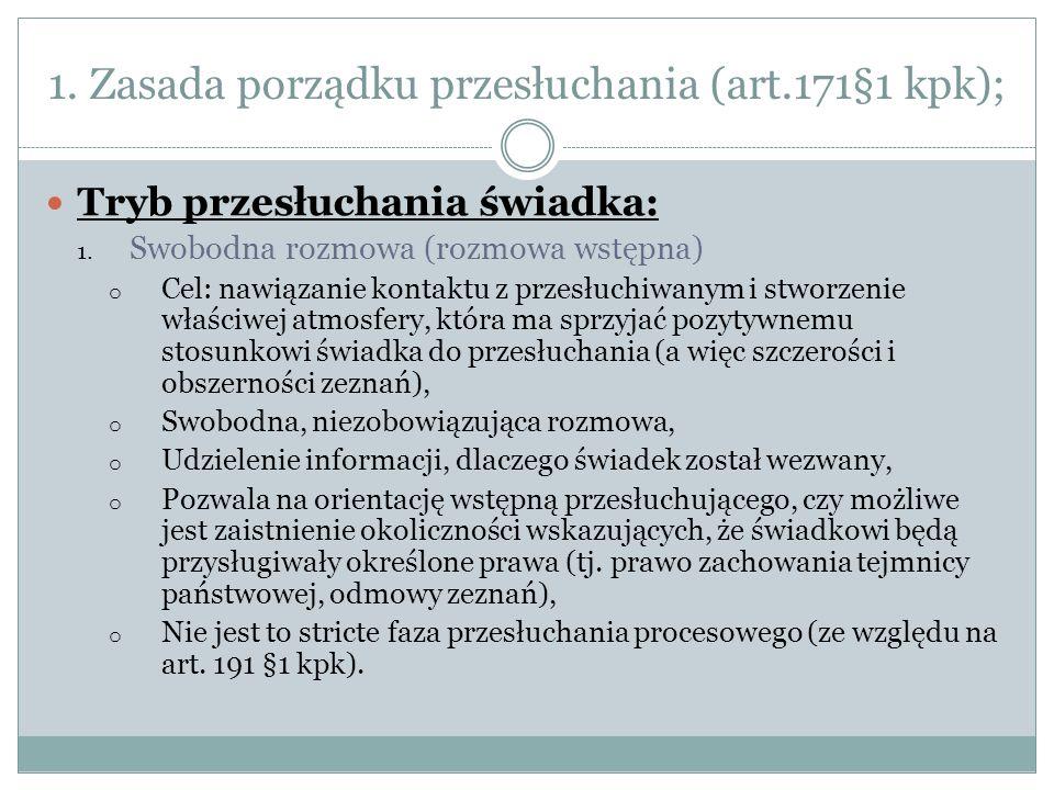 1.Zasada porządku przesłuchania (art.171§1 kpk) cz.2; tryb przesłuchania 2.