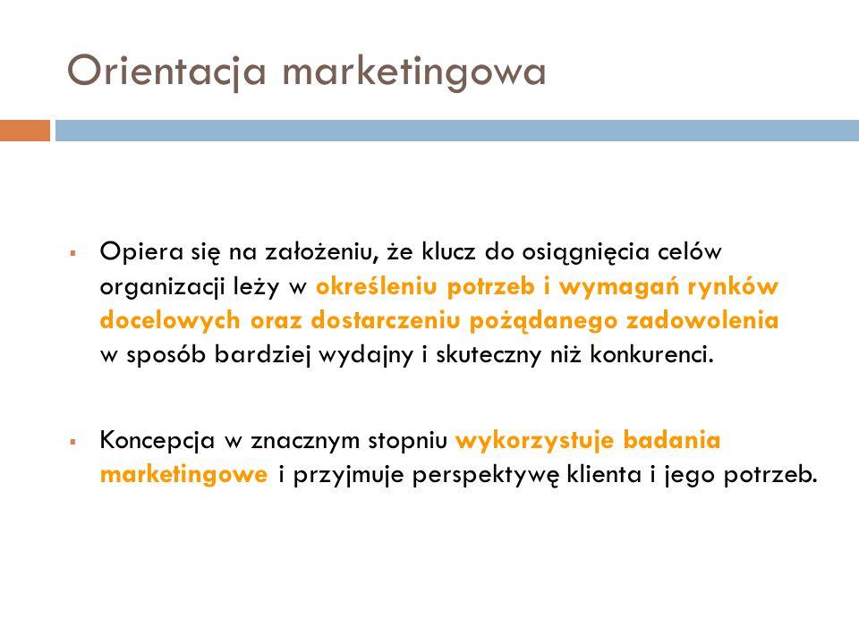 Orientacja marketingowa  Opiera się na założeniu, że klucz do osiągnięcia celów organizacji leży w określeniu potrzeb i wymagań rynków docelowych ora