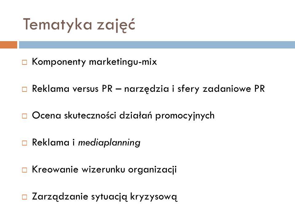 Tematyka zajęć  Komponenty marketingu-mix  Reklama versus PR – narzędzia i sfery zadaniowe PR  Ocena skuteczności działań promocyjnych  Reklama i