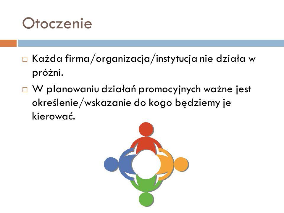 Otoczenie  Każda firma/organizacja/instytucja nie działa w próżni.  W planowaniu działań promocyjnych ważne jest określenie/wskazanie do kogo będzie