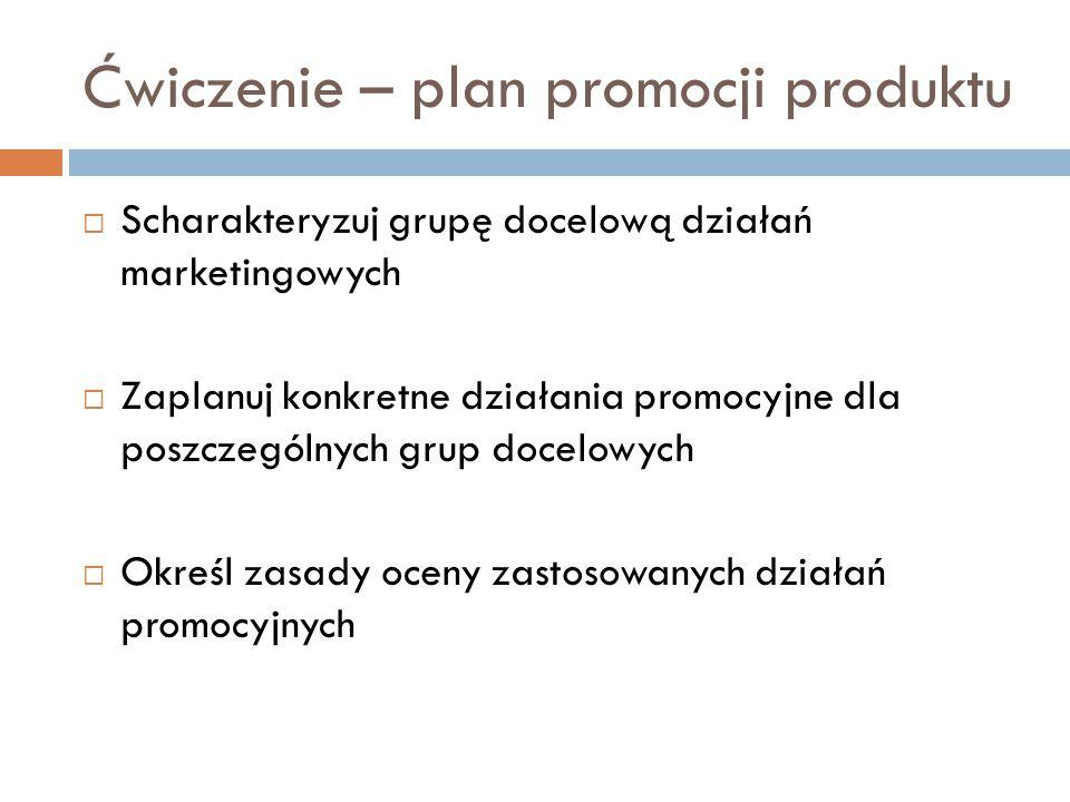 Ćwiczenie – plan promocji produktu  Scharakteryzuj grupę docelową działań marketingowych  Zaplanuj konkretne działania promocyjne dla poszczególnych