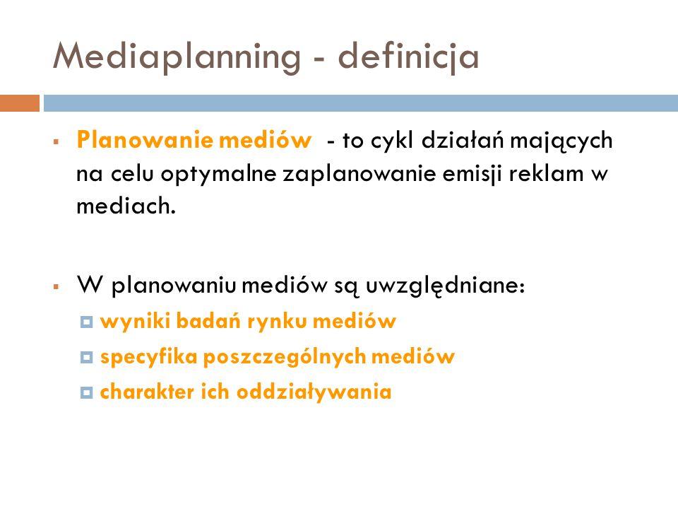 Mediaplanning - definicja  Planowanie mediów - to cykl działań mających na celu optymalne zaplanowanie emisji reklam w mediach.  W planowaniu mediów
