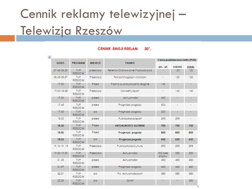 Cennik reklamy telewizyjnej – Telewizja Rzeszów