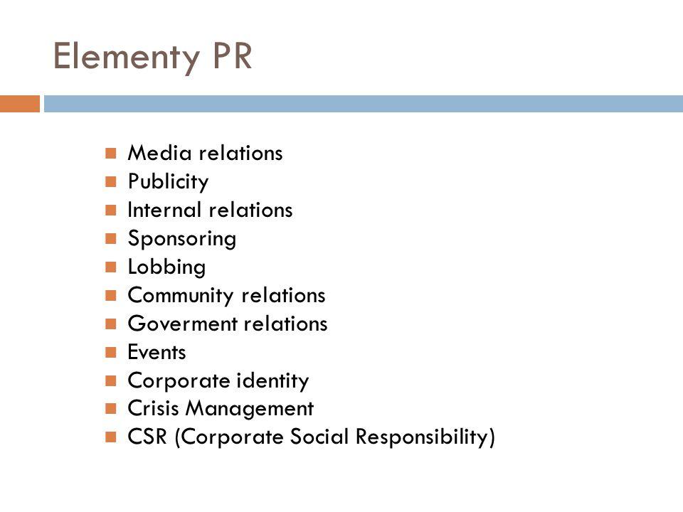 Elementy PR Media relations Publicity Internal relations Sponsoring Lobbing Community relations Goverment relations Events Corporate identity Crisis Management CSR (Corporate Social Responsibility)
