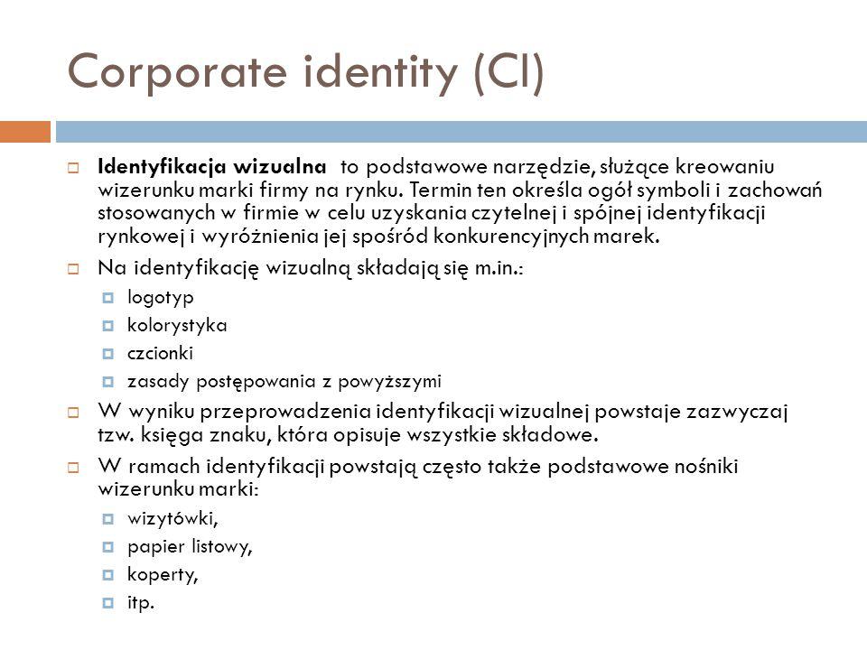 Corporate identity (CI)  Identyfikacja wizualna to podstawowe narzędzie, służące kreowaniu wizerunku marki firmy na rynku. Termin ten określa ogół sy