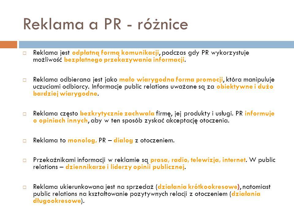 Reklama a PR - różnice  Reklama jest odpłatną formą komunikacji, podczas gdy PR wykorzystuje możliwość bezpłatnego przekazywania informacji.  Reklam